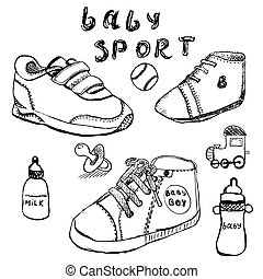 schizzo, set, scarpe, mano, bambino, disegnato
