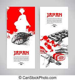 schizzo, set, sushi, giapponese, mano, banners., darwn, illustrazioni