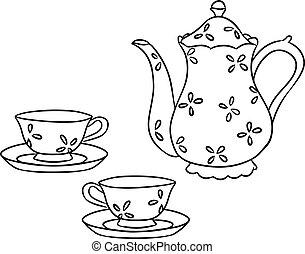 schizzo, set, tè, mano, vettore, scarabocchiare, disegnato
