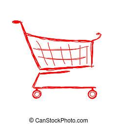 schizzo, shopping, disegno, carrello, tuo, rosso