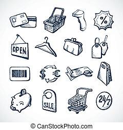 schizzo, shopping, icone
