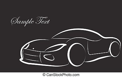 schizzo, silhouette, automobile, vettore, fondo, logotipo, scheda