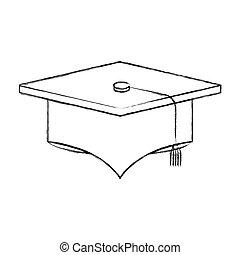 schizzo, silhouette, immagine, berretto, graduazione, sfocato