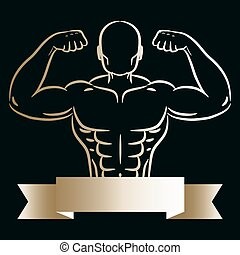 schizzo, silhouette, oro, atleta, mano, vector., disegnato, uomo