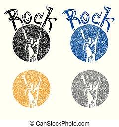 schizzo, simbolo, cultura, roccia