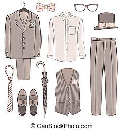 schizzo, sposo, abbigliamento