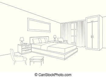 Camera letto prospettiva vista stanza colorare letto for Mobilia spazio