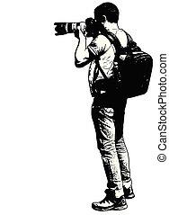 schizzo, suo, fotografo, -, lente, telefoto