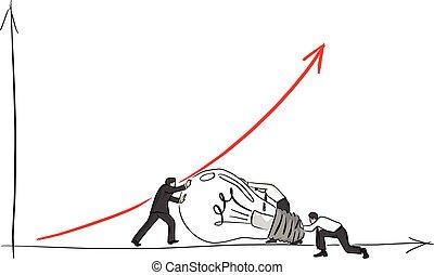 schizzo, suo, uomo affari, aiuto, su, grande, linee, isolato, illustrazione, mano, freccia, vettore, sfondo nero, bulbo, disegnato, bianco, amici, scarabocchiare, rosso