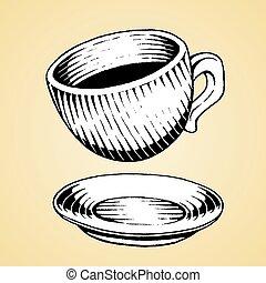 schizzo, tazza, caffè, inchiostro, bianco, riempire