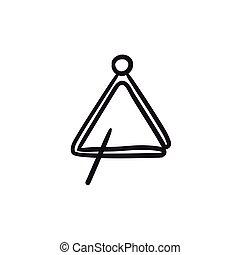 schizzo, triangolo, icon.
