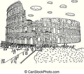 schizzo, turista, folla, visitare, scarabocchiare, linee, isolato, illustrazione, mano, vettore, sfondo nero, disegnato, bianco, colosseo
