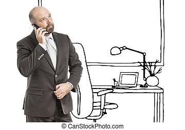 schizzo, ufficio affari, uomo