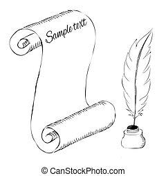 schizzo, vaso, penna, carta, inchiostro, penna