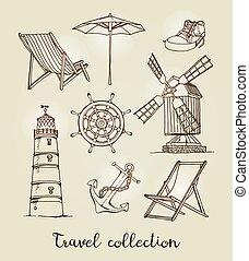 schizzo, vendemmia, mano, disegnato, vettore, viaggiare, set