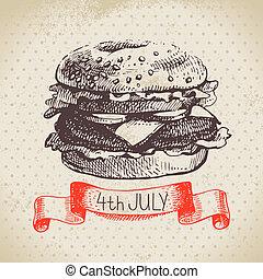 schizzo, vendemmia, mano, fondo., 4, disegno, disegnato, luglio, america, giorno, indipendenza