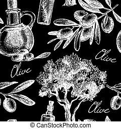 schizzo, vendemmia, pattern., seamless, mano, vettore, oliva, disegnato