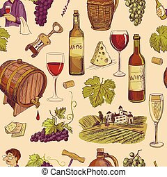 schizzo, vendemmia, seamless, mano, modello, disegnato, vino