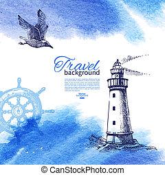 schizzo, vendemmia, viaggiare, illustrazione, mano, acquarello, fondo., mare, nautico, disegnato, design.