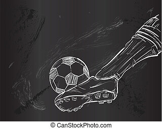 schizzo, vettore, calcio, palla