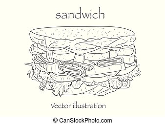 schizzo, vettore, illustration., sandwich.