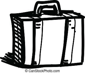 schizzo, vettore, illustrazione, viaggio, valigia