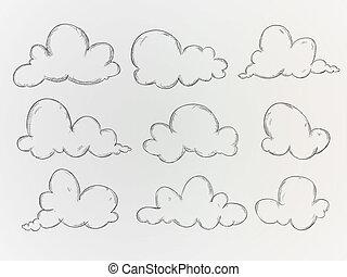 schizzo, vettore, nubi, pacco