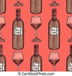 schizzo, vino, set, in, vendemmia, stile