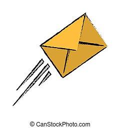 schizzo, volare, espresso, busta, posta, email
