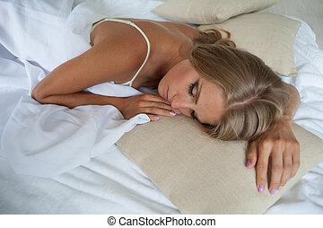 schläft, bett, schalfzimmer, m�dchen, blond, träume