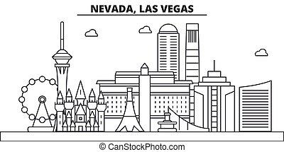 schläge, sehenswürdigkeiten, design, las vegas, cityscape, landschaftsbild, vektor, skyline, stadt, linear, editable, icons., las, wahrzeichen, nevada, linie, architektur, illustration., berühmt, wtih