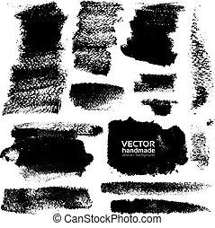 schläge, von, schwarze tinte, auf, papier