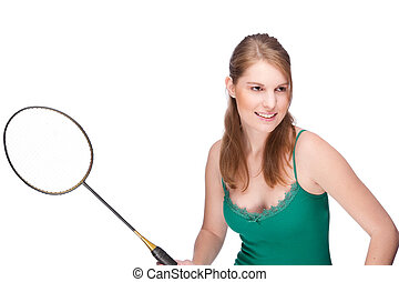 schläger, frau, badminton