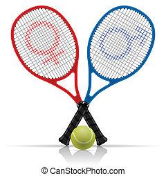 schläger, mit, tennisball