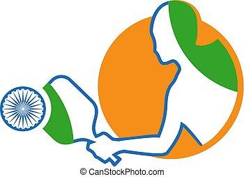 schläger, symbol, indische , sport