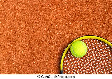 schläger, tennis, hintergrund, sport, ball.
