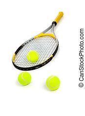 schläger, tennis, weißes, kugeln