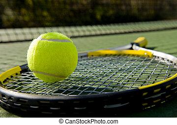 schläger, tennisball, gericht