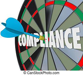 schlägt, richtlinien, nachkommen, vermeiden, erfüllung, regeln, gesetzlich, wurfpfeil, gefolgschaft, brett, policies, ordinances, gesetze, wort, unruhe, verfahren, illustrieren