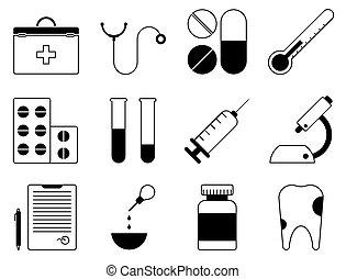 schläuche, zahn, icons., pr�fung, satz, zuerst, satz, medizin, vektor, mikroskop, stethoskop, doktor, spritze, pillen, conclusion., analysiert, hilfe