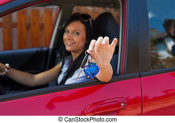 schlüssel, auto frau, neu