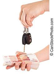 schlüssel, freigestellt, geld, bargeld, ob, andere, hintergrund, auto, weißes, hand