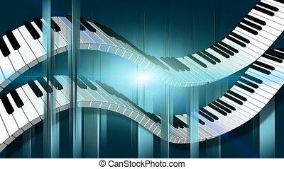 schlüssel, gebogen, klavier, bewegung