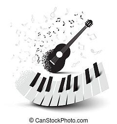 schlüssel, gitarre, notizen, klavier