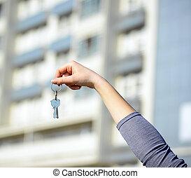 schlüssel, hand frau, besitz, neues heim