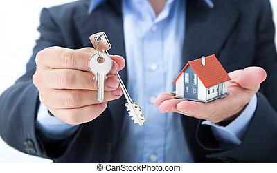 schlüssel, haus, immobilienmakler, liefern