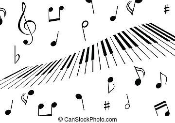 schlüssel, notizen, musik, klavier