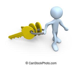 schlüssel, person, tragen