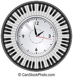 schlüssel, realistisch, klavier, büro- taktgeber