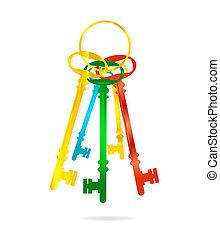 schlüssel, symbole, abstrakt, satz, gefärbt